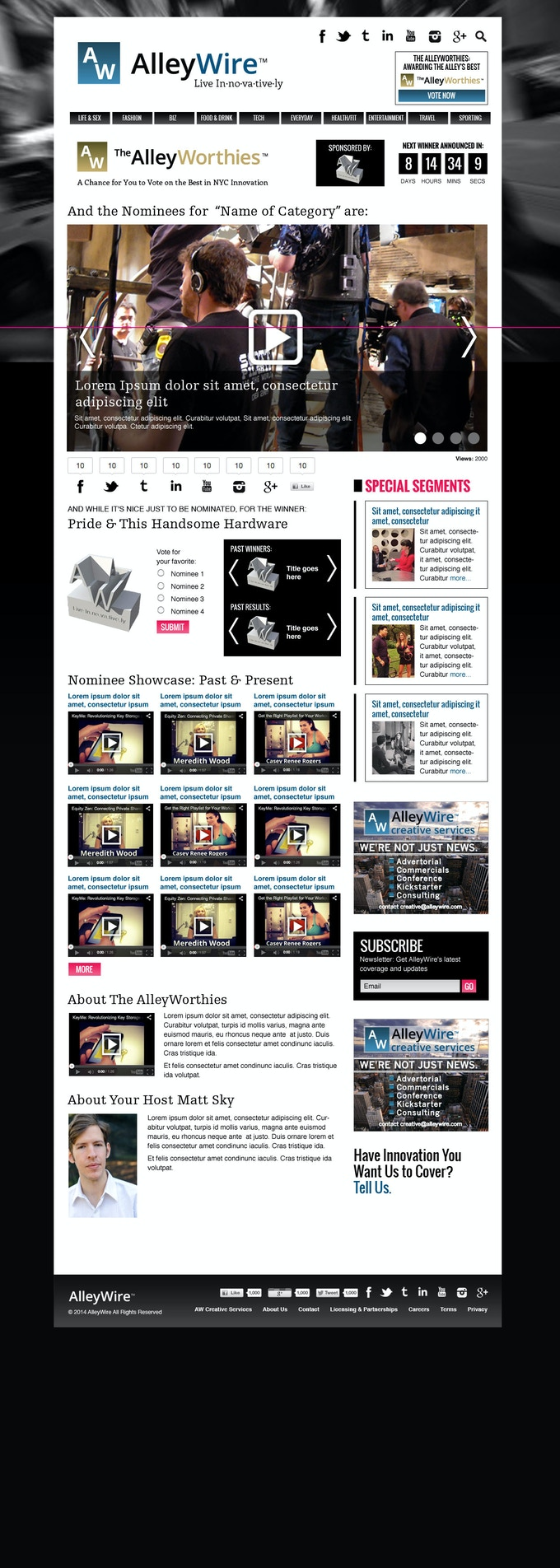 The AlleyWorthies Landing Page (Coming  March 2014)
