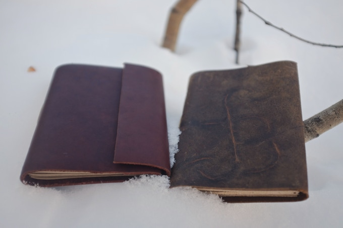 Left: Refined Field Journal. Right: Rugged Field Journal with flap tucked in as bookmark
