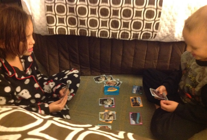 My niece (Alexis) and nephew (Blaine) getting in a game of Otters before bedtime.