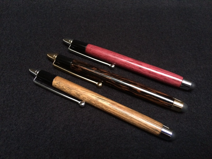 Bottom left to top right: Oak (Matte), Black Palm, Purpleheart