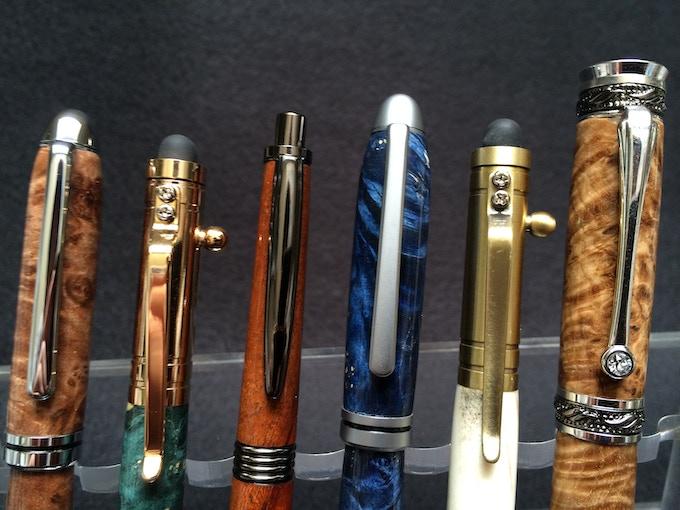 Left to right: Chrome, 24kt Gold, Gunmetal, Satin, Antique Brass, Rhodium