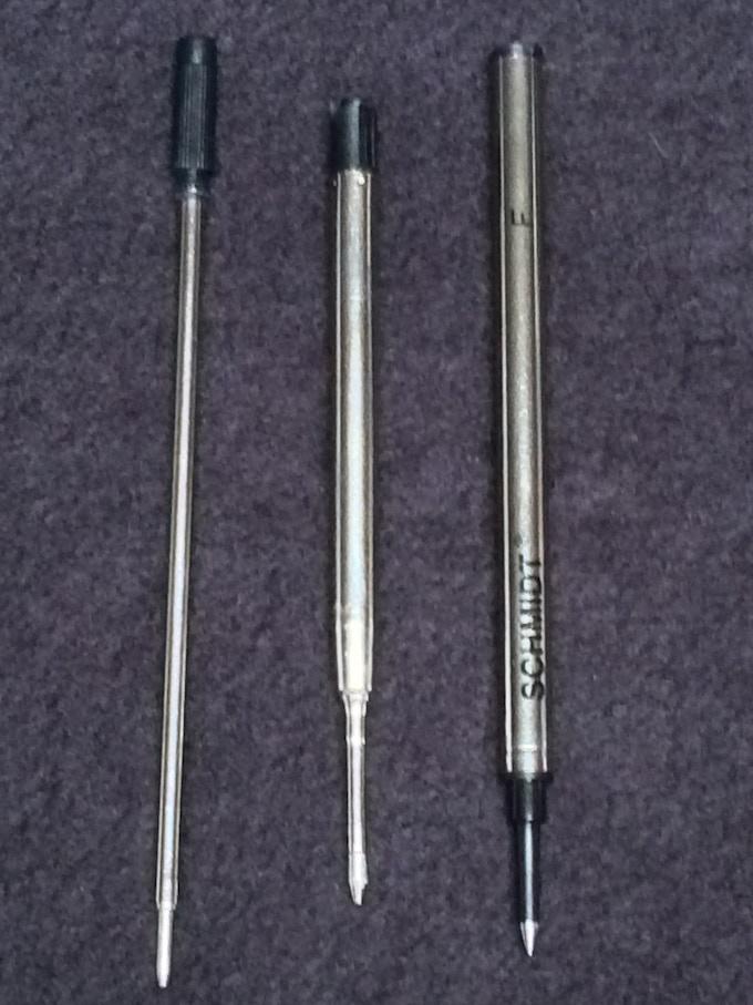 Left to right; Cross refill, Parker refill, Rollerball refill