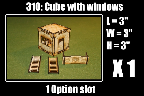 For 1 option slot you get: 1 Cube, 2 Ladders and 1 barricade.  Acrylic windows included for free