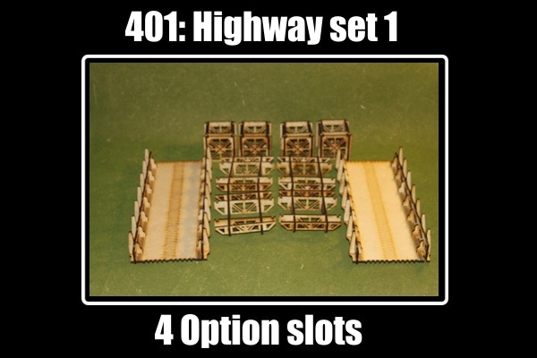 "Highway 1 set includes : 2 X  10.5"" roadways, 4 cubes, and 4 crowns for 4 option slots"