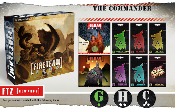 The Commander pledge level comes with BOTH expansions and ALL Add-Ons.  In addition, all Commander level pledges automatically receive the Deluxe Grunt Stretch goals whether unlocked or not!  That's over 150 new cards, guaranteed with this pledge!