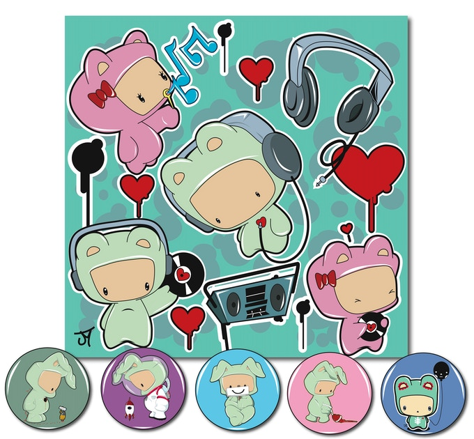 """ONLY 25 AVAILABLE!!!!!! A 12"""" page of music wall graphic stickers and a 1"""" never before release 5 button pack."""