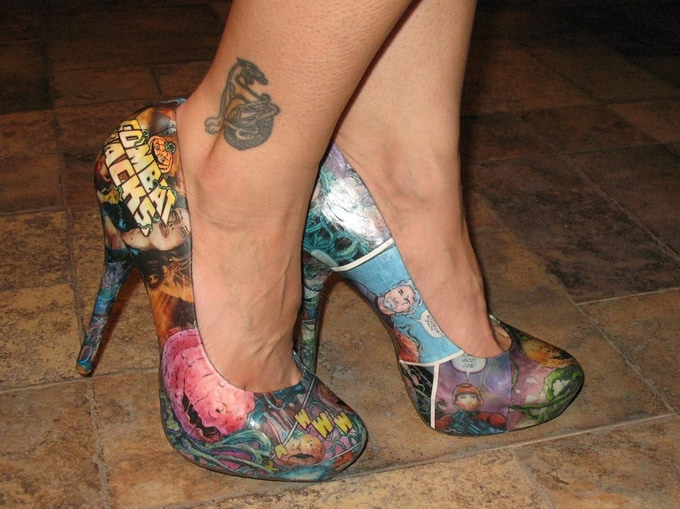 Custom made women's comic book shoes by Kylee!