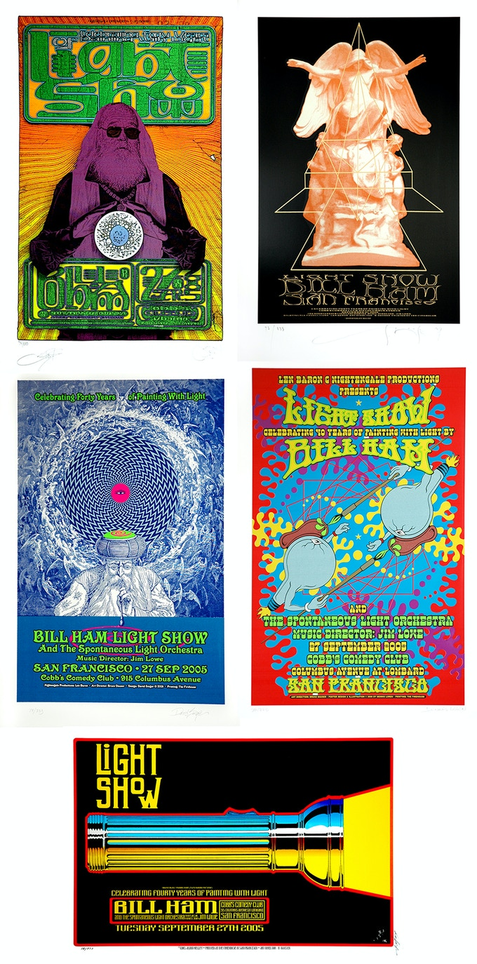 "Bill Ham Light Show 40th Anniversary Silkscreen Posters, 36"" x 24"" Posters, by  Chuck Sperry & Firehouse, Stanley Mouse, David Singer, Dennis Loren, and Alton Kelley"
