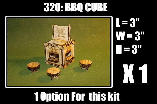 ! option for: 1 BBQ cube, 1 BBQ Billboard and 3 Tables