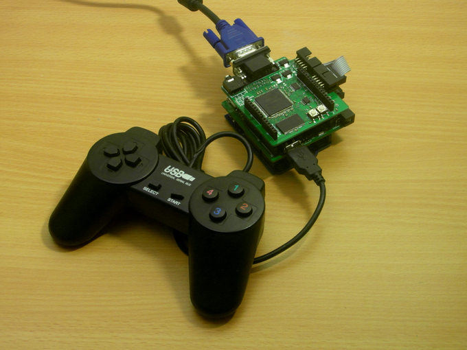 Arduino Uno + GFX Shield + UI Shield + USB gamepad