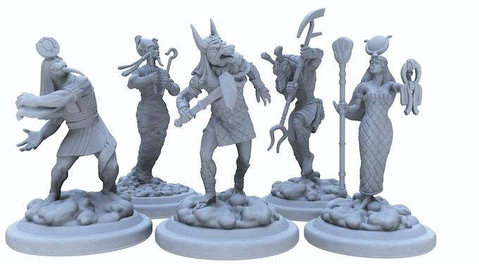 Thoth, Osiris, Anubis, Set and Isis.