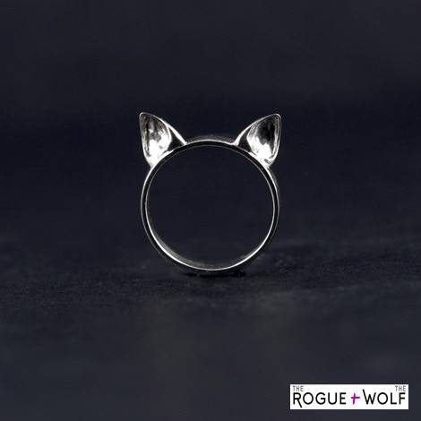 """Engraved """"Katpack"""" Cat Ear Ring courtesy of R+W"""