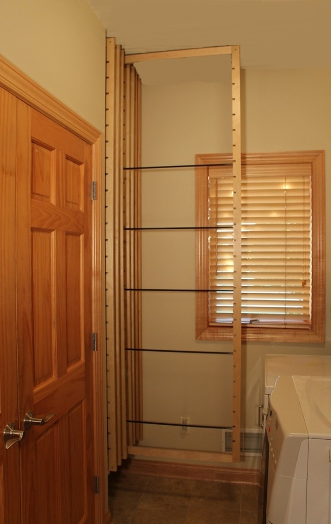 Pull a frame out and you're ready to start hanging clothes to dry.