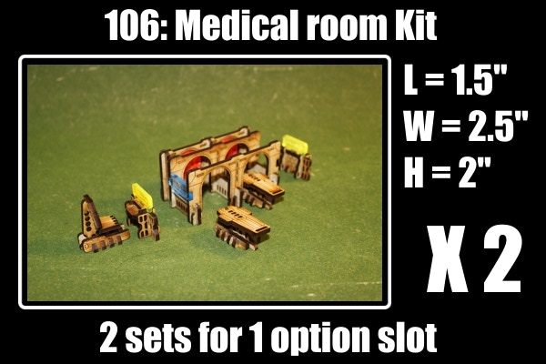 Full kit comes with: 2 X Twin medical bays, 4 X Beds, 3 X Chairs and 4 X computer terminals