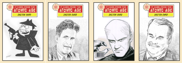 Mockups of Atomic Age sketch cards based on my previous releases