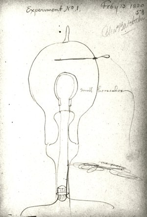 Early Sketch of the Light Bulb, Thomas Edison