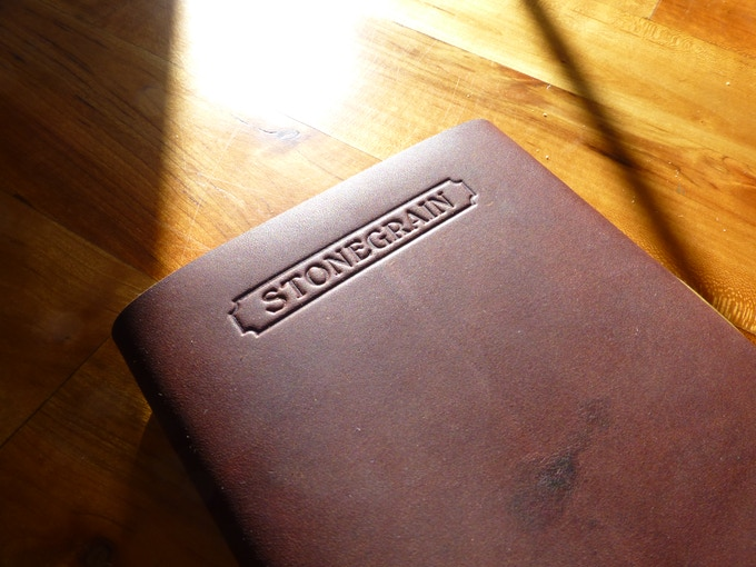 StoneGrain hot stamped into the back of the Refined Field Journal. Note the dark scar near the bottom right corner of the journal