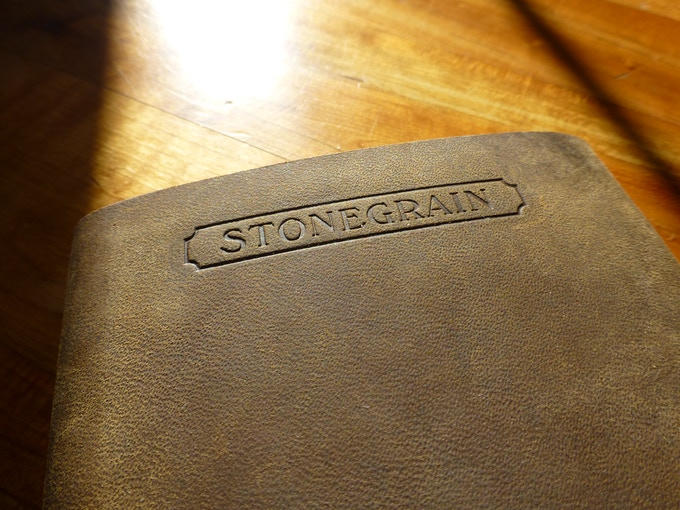 StoneGrain hot stamped into the back of the Rugged Field Journal
