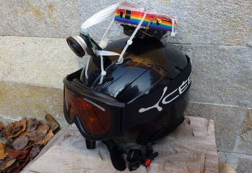 Ski helmet with Pi camera running off two PP3 batteries