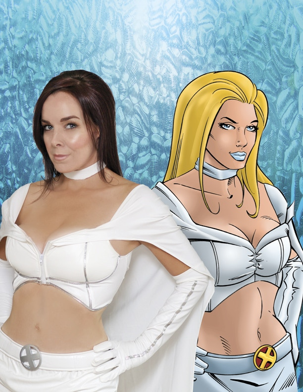 Personalized and autgraphed 8 x 10 by voice actress Erica Schroeder back to back with her animated White Queen from the X Men motion comic!