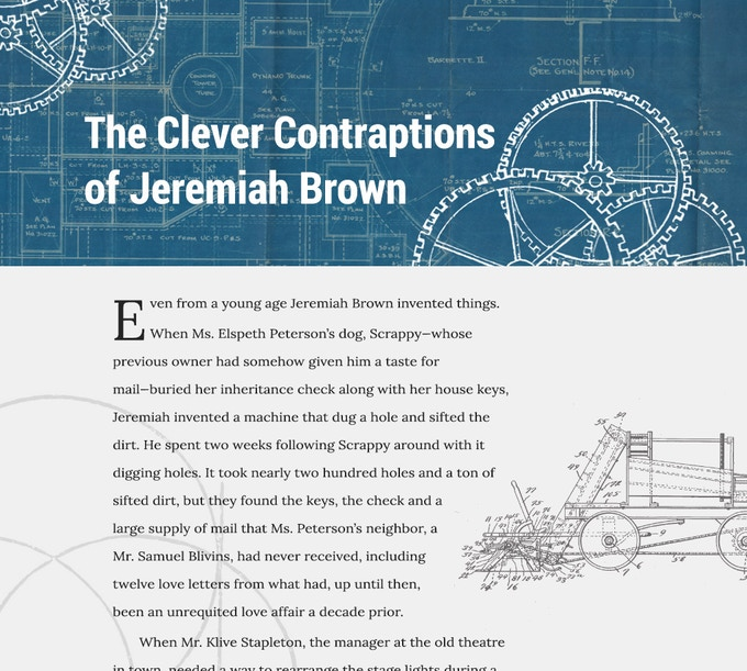 An initial design comp for Issue I's central story: The Clever Contraptions of Jeremiah Brown