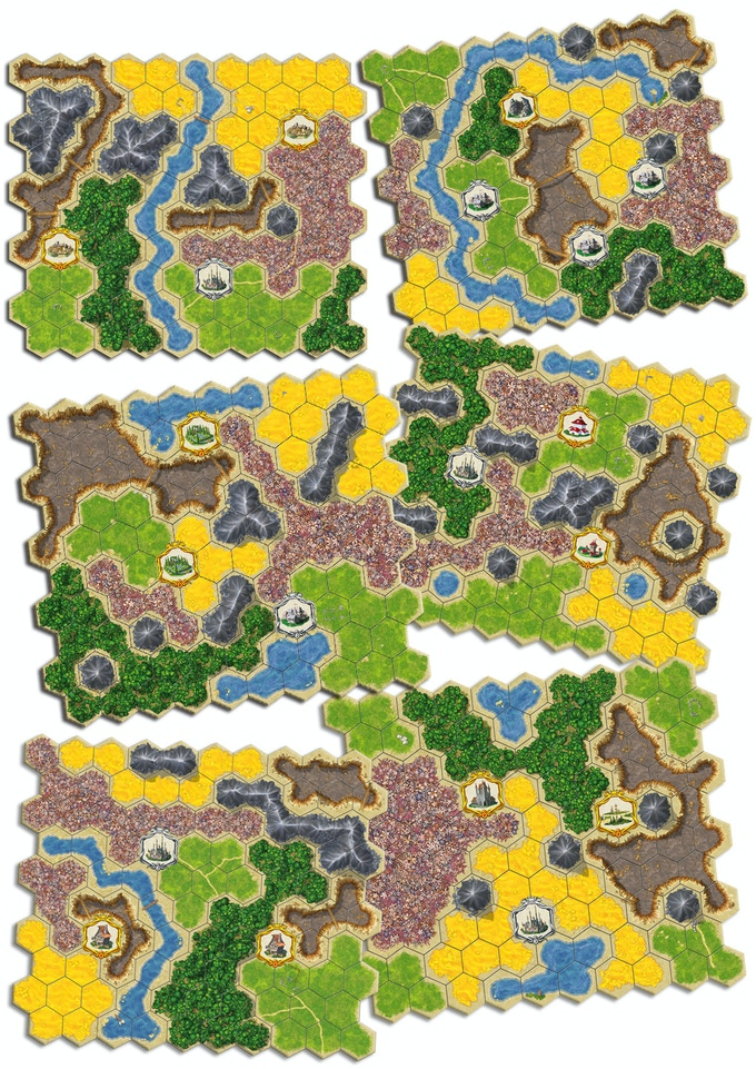 Some board segments from Kingdom Builder, Nomads and Crossroads.