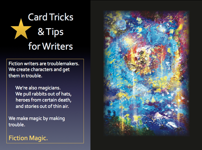 FICTION MAGIC PPT title page featuring artwork for card backs