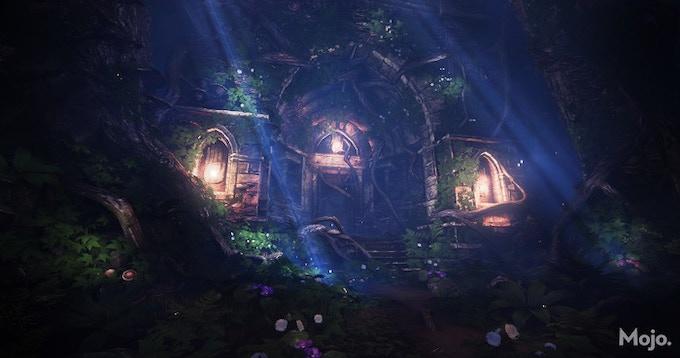 In-game screenshot: Titanwood shrine exterior