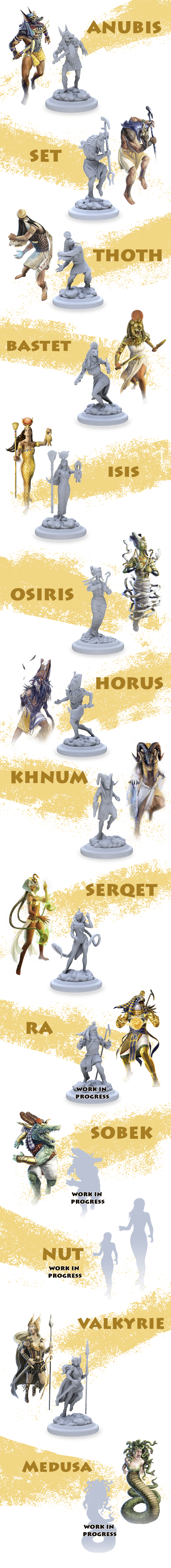 Note: These are images of the original sculpts, not physical, final products.