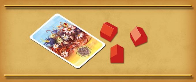 Flower field terrain card and three settlements.