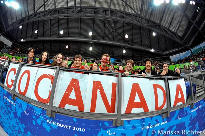 Canadian Fans at Vancouver 2010 Paralympic Sledge Hockey Game