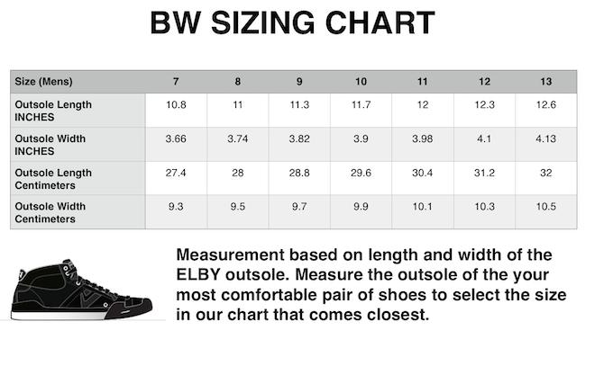 Sizing chart