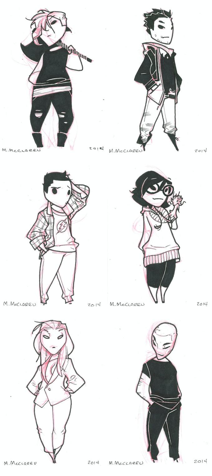 "Original ""Itties"" by Meredith McClaren. From top left: Tess & Robin, Brand & Micah (with Jeff), Snow & Fenris"