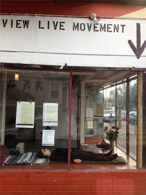 "WAM's ""Live Practice Gallery"" in a storefront in the Mission District of SF. 2012"