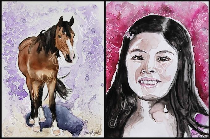 'Spencer'- 9 x 12 watercolor on YUPO paper.  'Belleza' - 8 x 10 watercolor on YUPO paper.