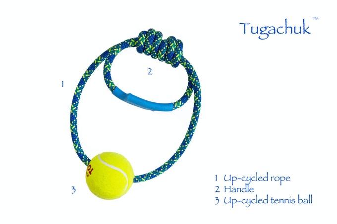 We work hard to make The Tugachuk™ so you can play hard with your dog. The Tugachuk™ is 99% up-cycled. The tennis balls are all post-consumer and collected from wooded and wetland areas behind tennis courts which helps to clean up ecosystems around ATL