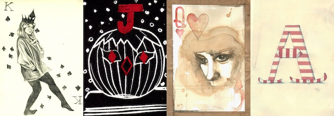King of Spades by Susanne, Jack of Diamonds by Anna, Queen of Hearts by Kathryn, Ace of Clubs by Nicole