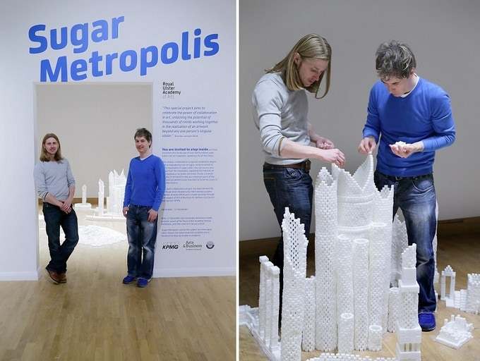 Mark Revels and Brendan Jamison constructing the Northern Ireland version of Sugar Metropolis in November 2013
