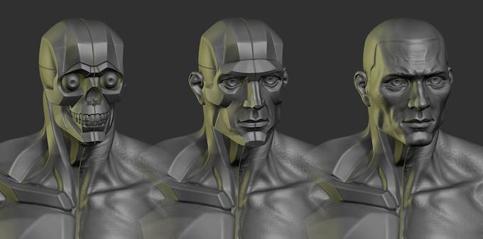 planar skull, planar head and realistic head.