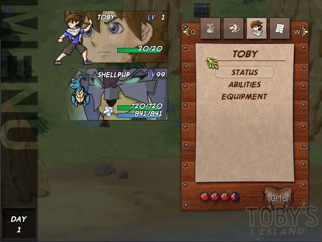 Demonstration of menu - temporary values are entered for health and levels etc.