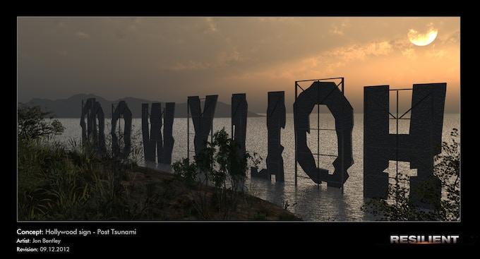 Hollywood sign - tsunami