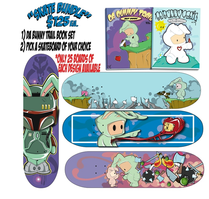 SKATE BUNDLE PACK--- Bunny Trail book set, 1 Skateboard deck of your choice.  Only 25 off each design available so get yours today!!!!