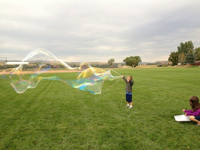 Little guy, huge bubbles in Craig, Colorado!