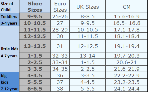 Kids sizing chart: toddlers, little and big kids