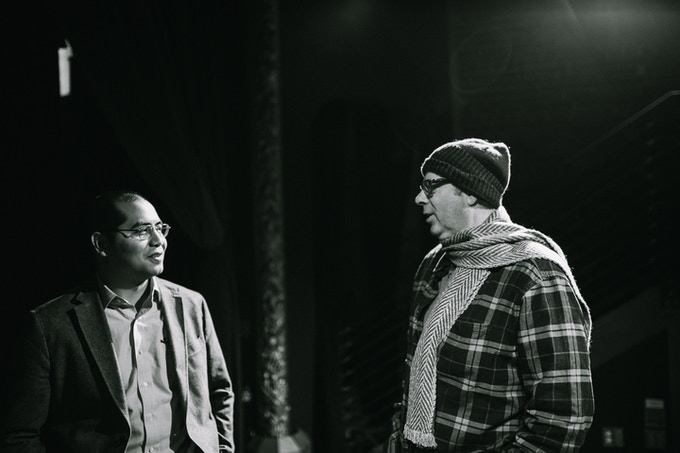 Stephen and David on set, filming the Kickstarter video. Photo by elldubphoto.com.