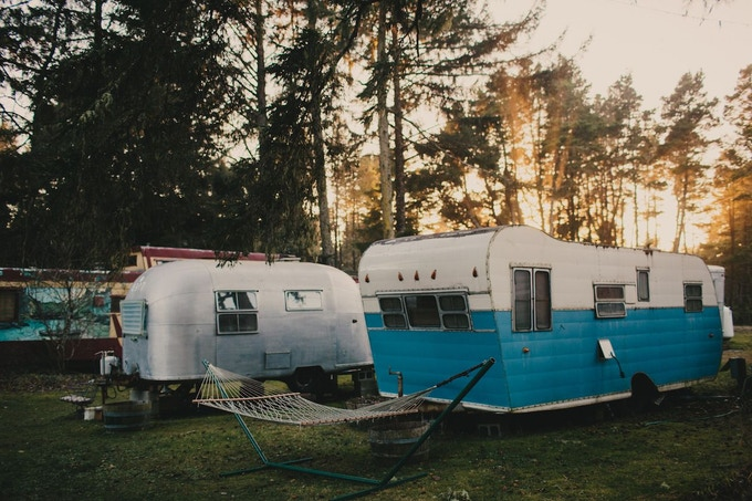 Rows of beautiful mobile housing forming the Sou'wester community in Portland, Oregon, by Phil Chester.