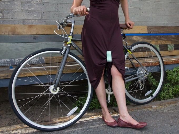 The KATCH holds longer skirts together, keeping the fabric out of your gears and in place while you ride.