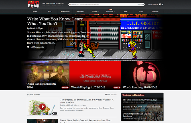 Front page of Giant Bomb!