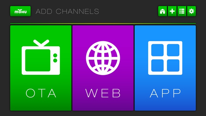 Add any combination of OTA broadcast stations, web sites, web video apps and streaming video apps to your Personal Channel Guide! (Actual screen shot)