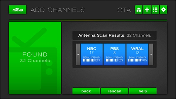 Mohu Channels scans to find all available OTA stations in your area and indicates the signal strength of each station, so you can decide whether to keep or remove any OTA broadcast station. (Actual screen shot)